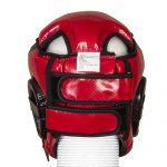 "CASQUE DE BOXE OUVERT EN PU ""CARBON"" ROUGE - WETTLE GEAR-48"
